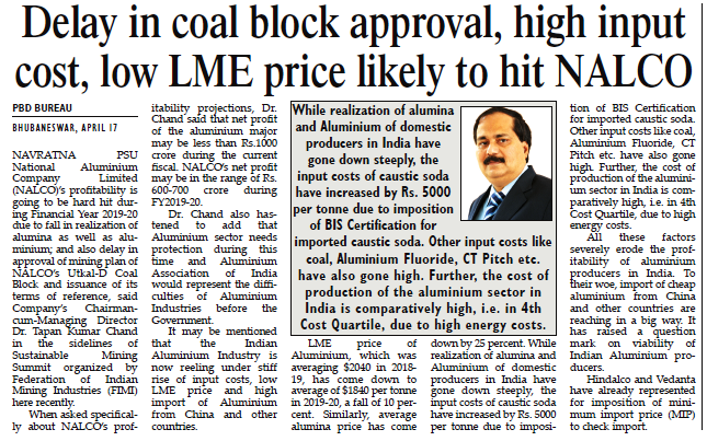 Delay in coal block approval, high input cost, low LME price likely to hit NALCO
