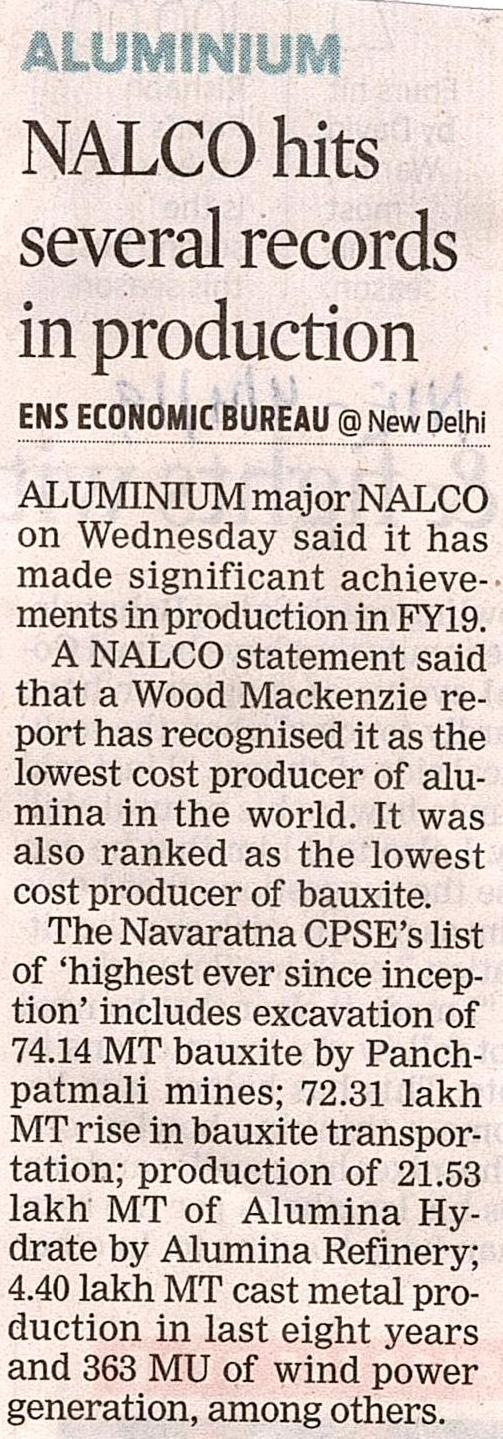 NALCO registers High performance in FY 2018-19