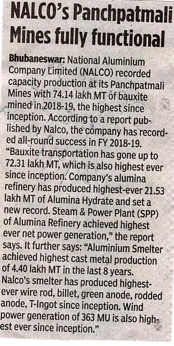 NALCO's Panchpatimali mines fully functional