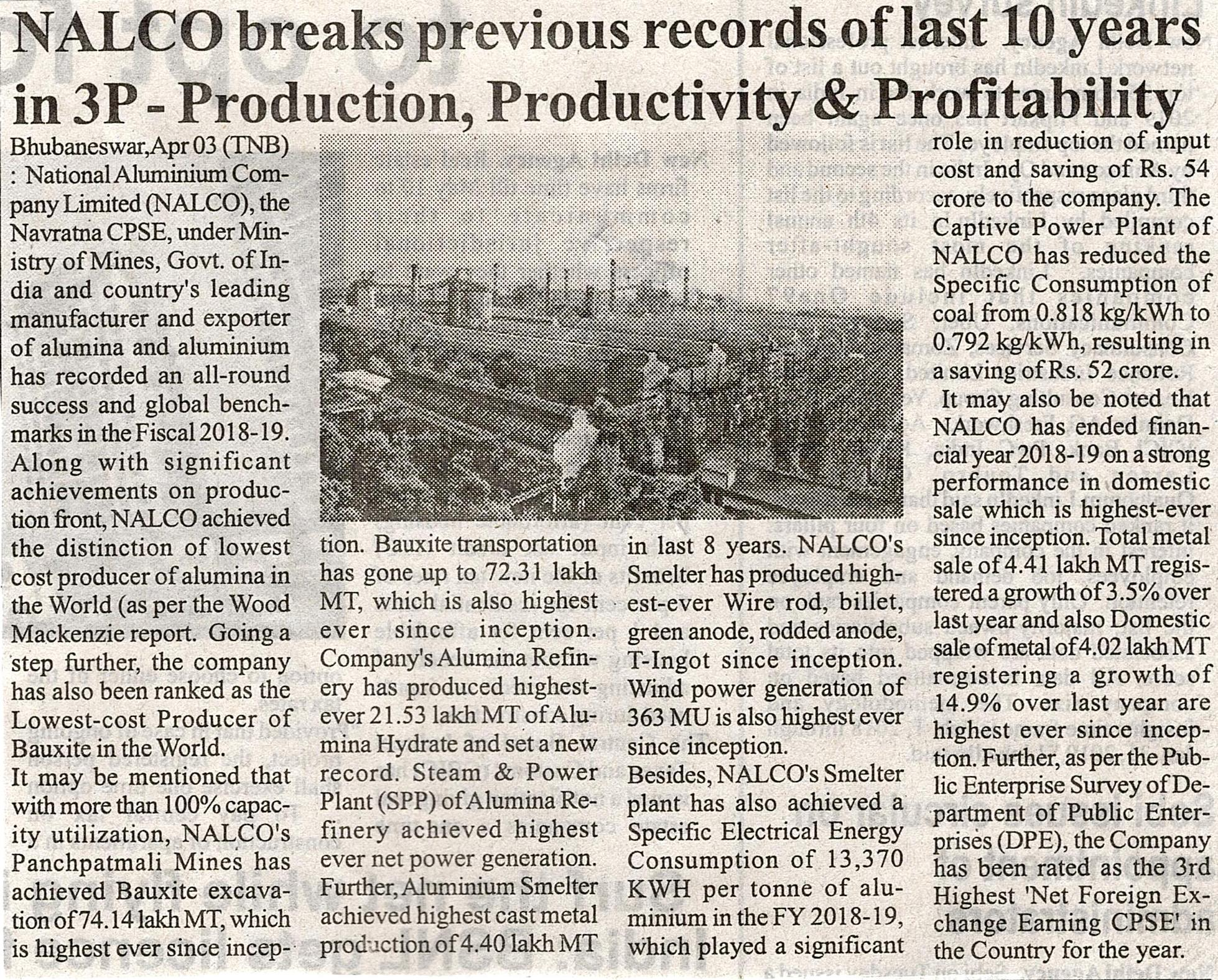 NALCO breakers previous records of last 10 years in 3P – Production,Productivity & Profitability