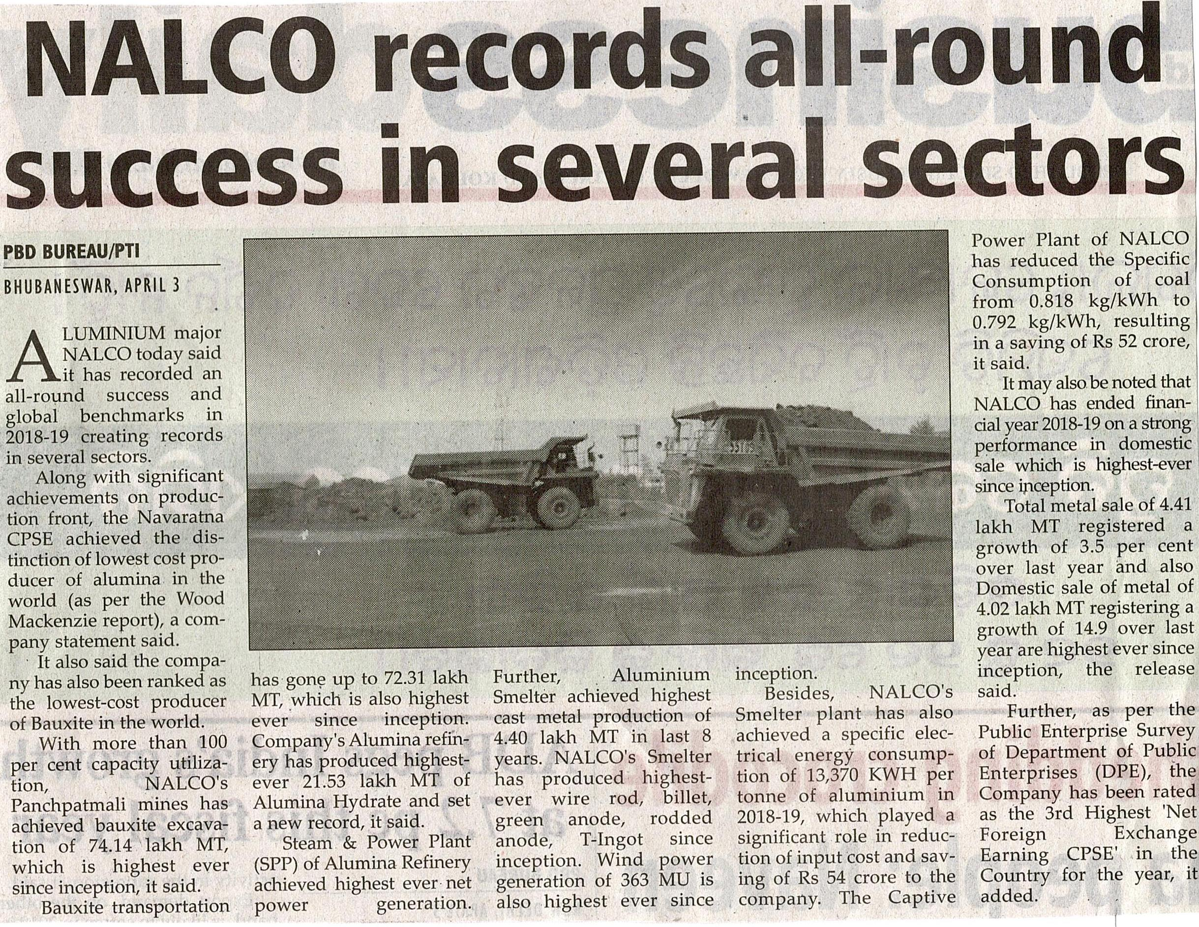 NALCO records all-round success in several sectors
