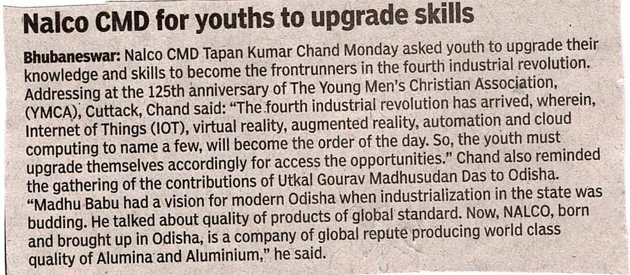 Nalco CMD for youths to upgrade skills
