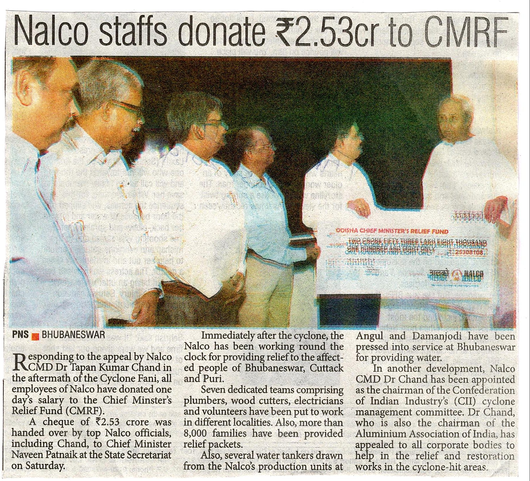 NALCO Employees donate one day salary to CM's Relief Funds