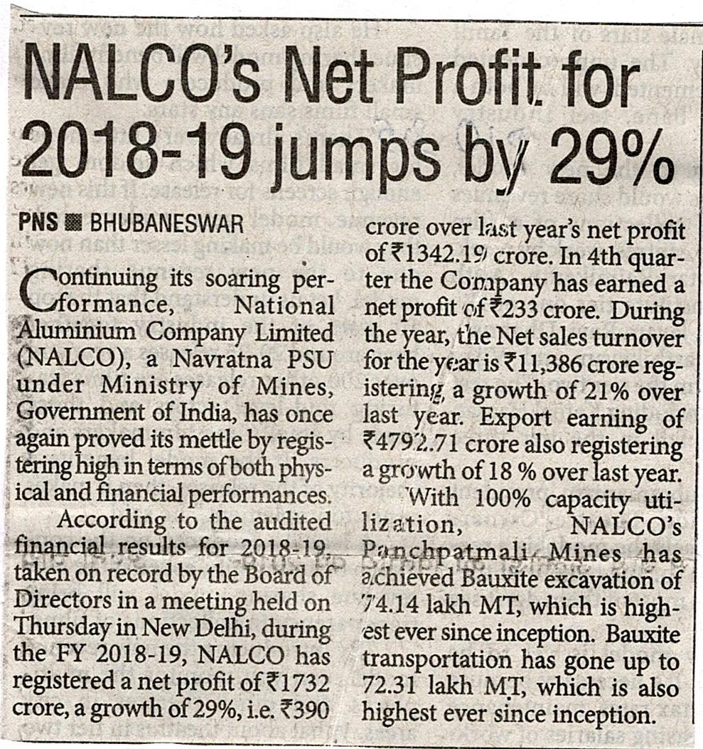 NALCO's Net Profit for 2018-19 jimps by 29%
